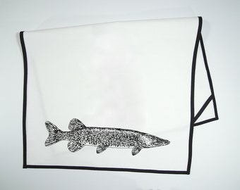 Pike - hand sewn and screen printed tea towel