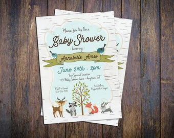 Woodland Animals Baby Shower Invitation - DIY Custom Printable