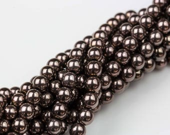 "Rust Metallic HEMATITE Beads. Round Smooth. 2mm, 4mm, 6mm, 8mm, or 12mm. Full Strand 16""."