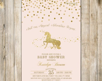 Blush Pink UNICORN BABY SHOWER Invitation, Gold Confetti Baby Unicorn Invite, Fantasy Unicorn Baby Girl Shower, Magical Adventure Begins