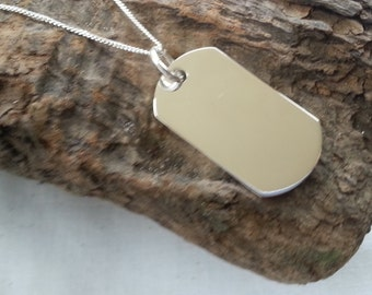 Sterling Silver Dog Tag Pendant Necklace