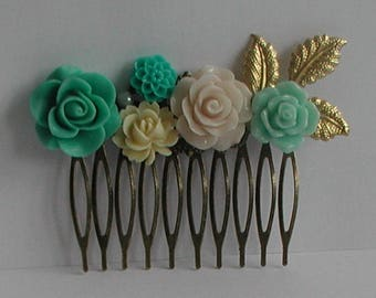Vintage Inspired Antique Bronze Mint Green Tones Flower Hair Comb Bridal Prom