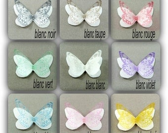 "Double 5 cm silk butterfly wings and transparent motives ""Apolline"""