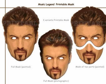Unique George Music Legend Printable Masks, costumes, musician, pop Star masks, party decoration, photo booth props, celebrity
