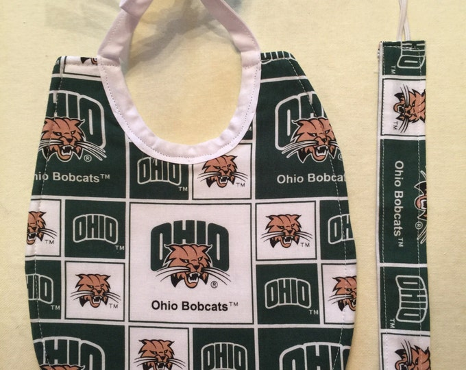 Baby Bib Gift Set Ohio University Bobcats Inspired Fabric Bib & Pacifier Clip