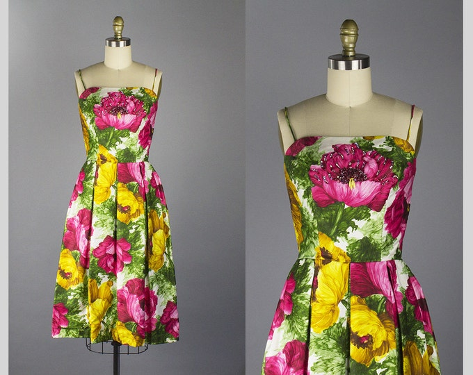 1950s floral cotton sundress/ 50s beaded party dress/ extra small xs