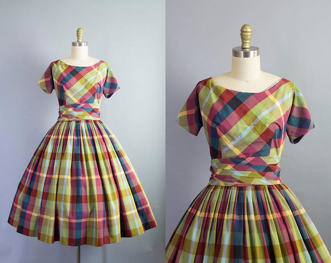 1950s plaid dress/ 50s cotton party dress with cummerbund belt/ extra small xs