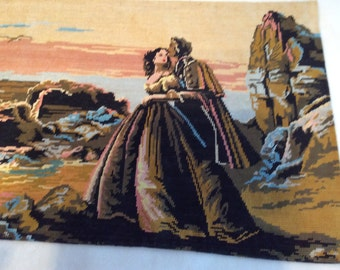 Vintage Needlepont Tapestry Hand stitched Romantic Couple Seashore Large