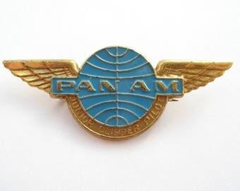 Pan Am  Wings badge - Junior Clipper Pilot - vintage travel 1960s pin back stewardess brooche