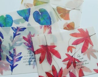 Set of 4 vellum envelopes.  Autumn lefs design. Translucent envelopes