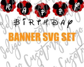 Mickey DIY Birthday Banner SVG, Party Banner Svg