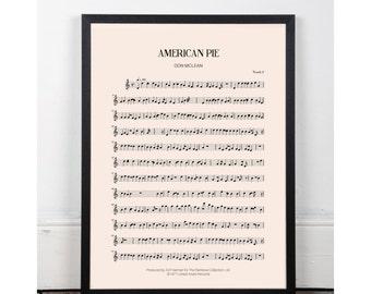 American Pie, Don McLean, bedroom art, Printable art poster, kitchen art, bar art, INSTANT DOWNLOAD, sheet music, studio art, 70s