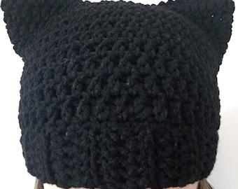 Black Cat Hat, Black Cat Ear Beanie, Black Cat Ear Hat, Cat Ears Hat, Crochet Black Cat Hat,