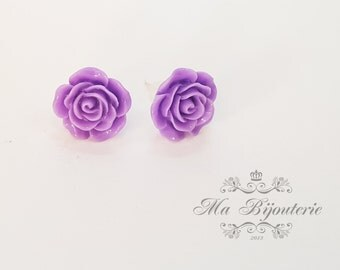Purple rose studs, Silver plated flower studs, Purple rose, Purple flower studs, Gift for women, Gift for her, Fashion studs, Small Earrings