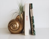 Vintage Brass Bookend // Vase // Conch Sea Shell