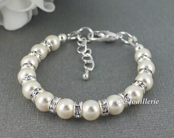 Flower Girl Bracelet, Cream Pearl Bracelet, Swarovski Bracelet, Flower Girl Jewelry, Bridesmaids Gift, Available in White or Cream