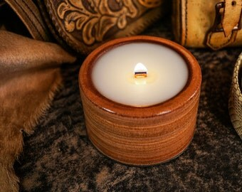 SALE! All Leather Container Candle, with Wood Wick, This is 100% Real Leather with Ocean Mist Scented Wax, 4.75 oz.
