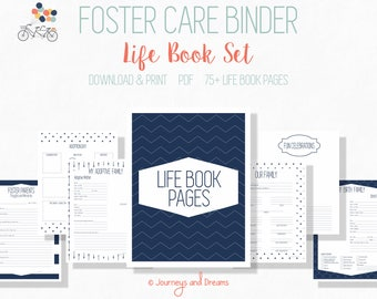 Foster Care Adoption Life Book . 75+ Pages! .  8.5x11 . PRINTABLE . DIGITAL DOWNLOAD . Navy Blue Series