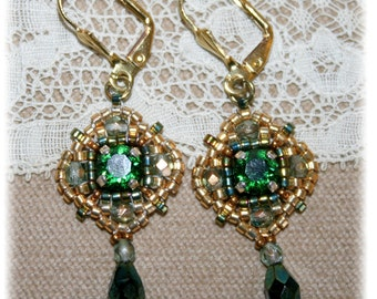 Earrings Collection Antique, gold, green, medieval, renaissance, Eastern inspiration