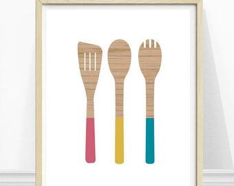 Kitchen Art, Wooden Spoons, Wooden Utensils, Kitchen Utensils Print, Kitchen Wall Art, Illustration