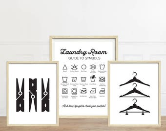 Laundry Room Art, Set of Three Prints, Laundry Symbols, Vintage Laundry Sign, White Laundry Room Prints, Clothespins, Hangers