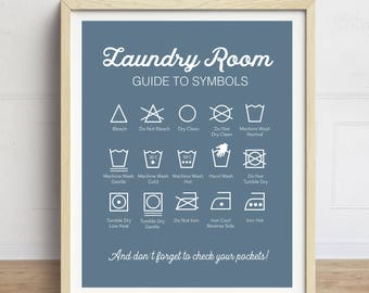 Laundry Symbols Print, Laundry Instructions, Washing Instructions, Laundry Room Art, Laundry Sign, Blue Laundry Room Sign