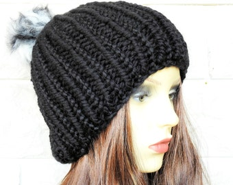 Hand Knitted Black Winter Hat With Multicoloured Pompom - Free Shipping