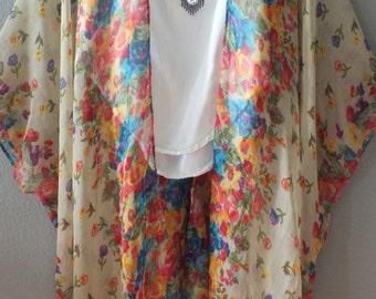 Cream Boho Tunic Swimsuit Cover Floral Print Sheer Gauze Cotton Fabric Caftan Duster Kimono Top Cardigan Onesize SML Plus Size