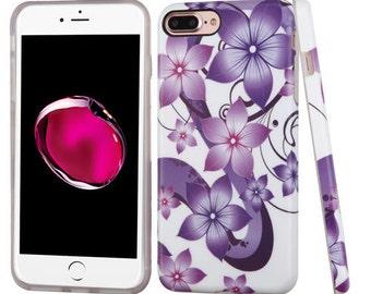 Purple Flower iPhone 7 Plus  / 8  Plus TPU Gel Design Case