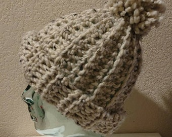 Oatmeal// Ribstitch Adult Beanie With Pom Pom