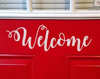 Front Door Vinyl Welcome Decal - Door Decal - Welcome Sticker - Vinyl Welcome Sticker - 4 x 13 inches - Front Door Sign