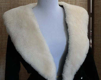 Kirby of Miami Super Soft Black Sweater with Detachable Wide Collar in Soft Faux Fur and Rhinestones- Elegant and Classy