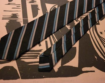 Vintage 1960s Silk Neck Tie -Black and Blue Stripe-Rockabilly Fashion or Classic Mad Men Style