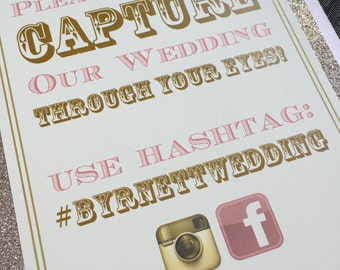 Personalised | Wedding | Facebook | Instagram | Hashtag | Glitter Sign