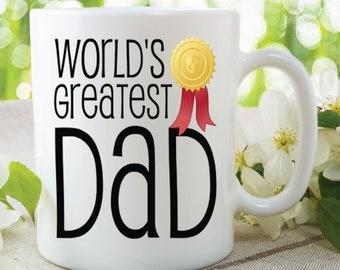 Ceramic Dad Mug Printed Mug World's Greatest Dad Parent Birthday Christmas Fathers Day Present Gifts For Him Secret santa Best Dad WSDMUG366