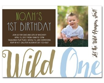 1st Birthday Party 5x7 Invitation with Photo - Where the Wild Things Are - Printable and Personalized
