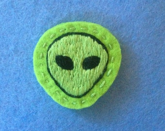 alien patch - light green sewn embroidered patch