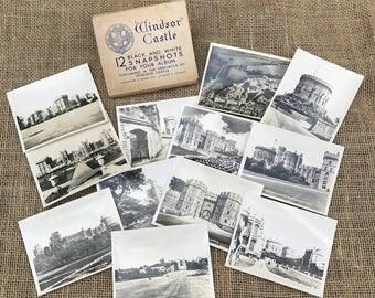 Windsor Castle Souvenir Photographs Complete set of 12 Black and White Snap Shots Travel S British Royal family