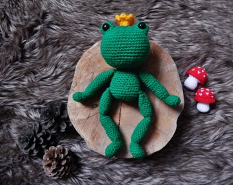 REDUCED Prince Frog amigurumi crochet toy doll