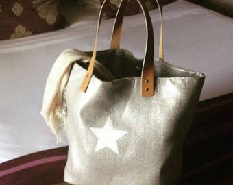 tote bag chic metallic gold lame linen and ivory leather star, camel leather handles