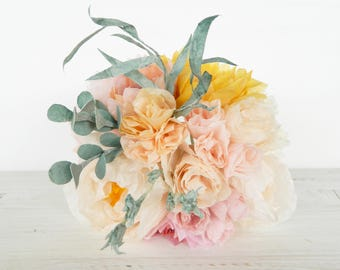 Paper Flower Bouquet with dahlias roses and peonies