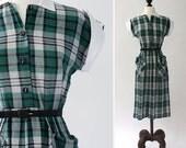 25% off SALE vintage 1950s dress <> 40s/50s green plaid dress <> cotton day dress