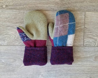 Argyle Sweater Mittens //LoveWoolies Mittens //Fleece Lined