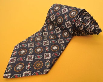 Dunhill Tie Pure Silk Novelty Repeat Pattern Navy Blue Vintage Designer Dress Necktie Made In Italy