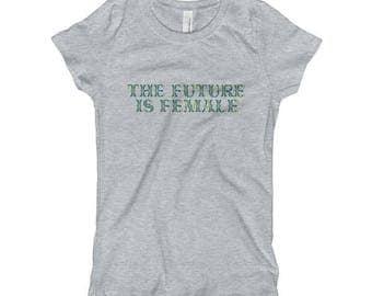 The Future Is Female (Blue/Green Print) Feminist Liberal Girl Slim Tee shirt
