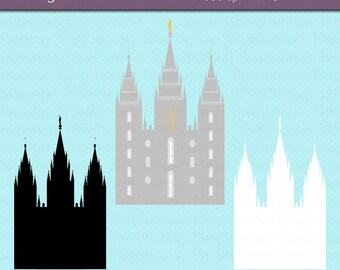 LDS Temple Clipart - Salt Lake City - Commercial Use Clip Art INSTANT Download Digital Art Set - Mormon Clipart - Utah Clipart