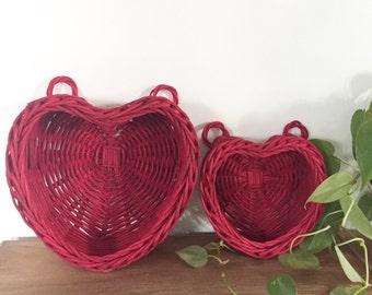 Vintage Set of Heart Shaped Baskets
