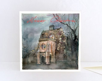 Christmas Card, Christmas lights in Rosslyn Chapel, Merry Christmas from Scotland - Greeting Card