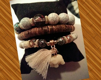 3 in one elegant stretch bracelet set