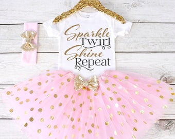 Sparkle Twirl Shine Repeat. Girls Outfit. Tutu Set. Girls Clothing. Girls Tutu Outfit. Sparkle Shirt. Girls Clothing S26 GRL (LIGHTP)